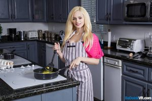 teen nubile Elsa Jean cooking breakfast