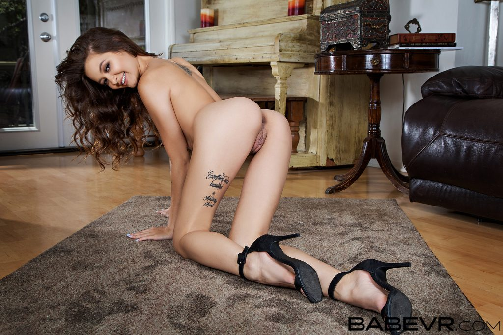 BabeVR model posing butt in air