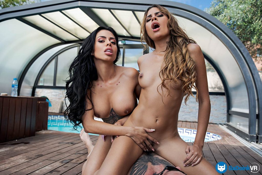 sunny vr sex with two Latina pornstars
