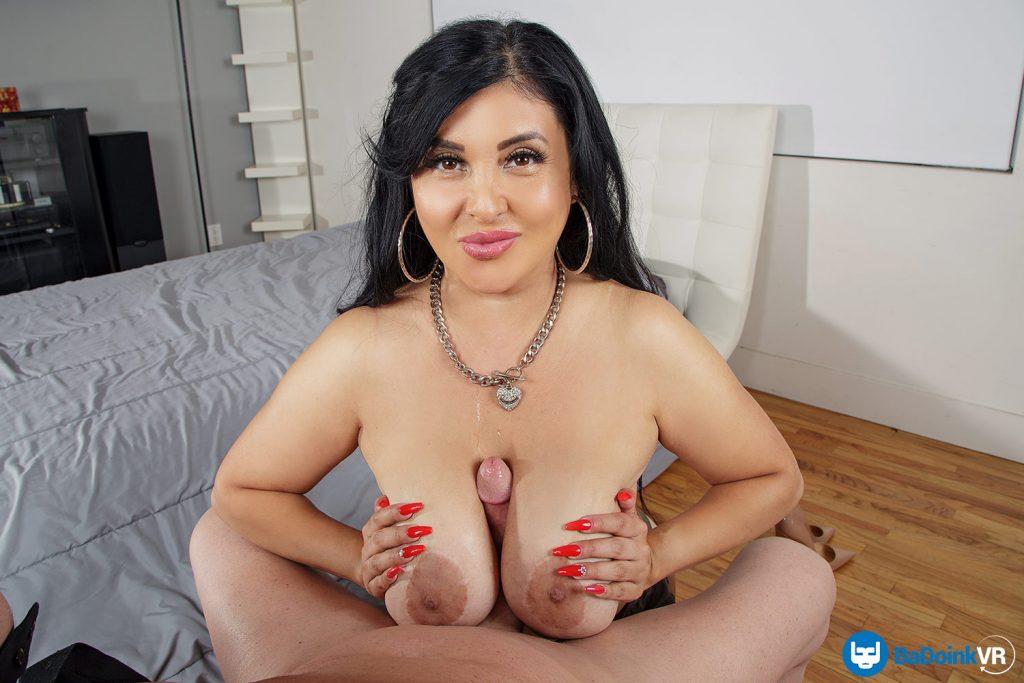MILF latina gives vr titty fuck