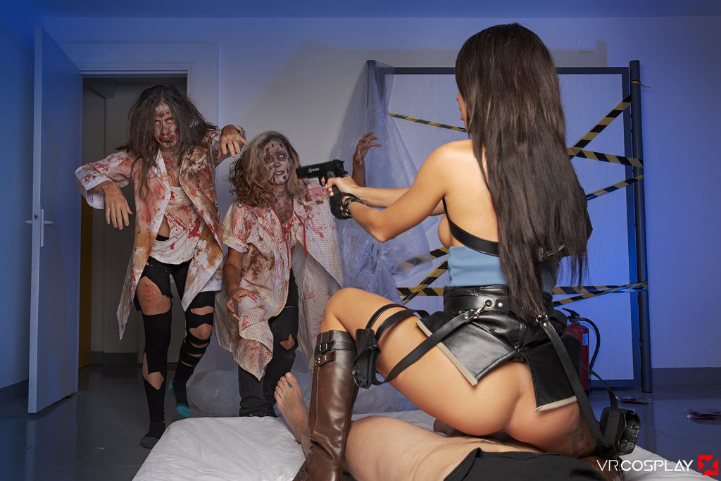 Katrin Tequila shooting zombies while having sex