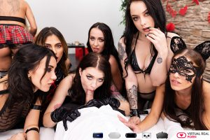Misha Cross blowjob in middle of orgy