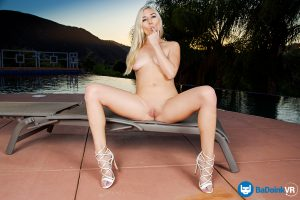 naked teen girl posing outdoors by pool