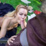 blonde European girl sucking cock pov vr outdoors